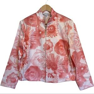 St. John Zip Front Coral/White Floral Twill Jacket